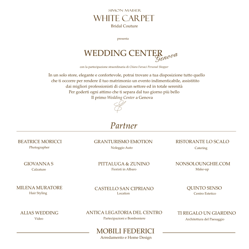 Wedding invito simon maiser white carpet chiara farsaci for Mobili federici